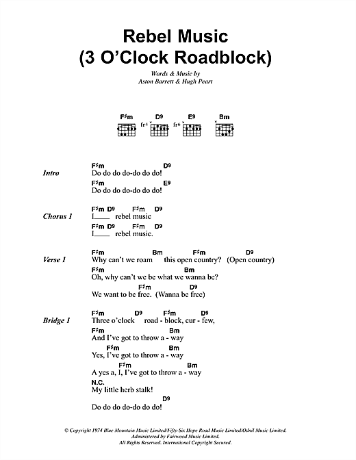 Rebel Music (3 O'Clock Roadblock) Sheet Music
