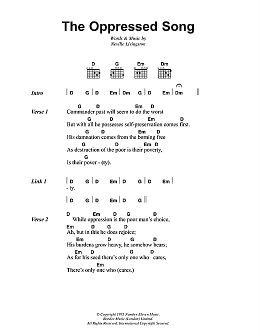 The Oppressed Song Sheet Music