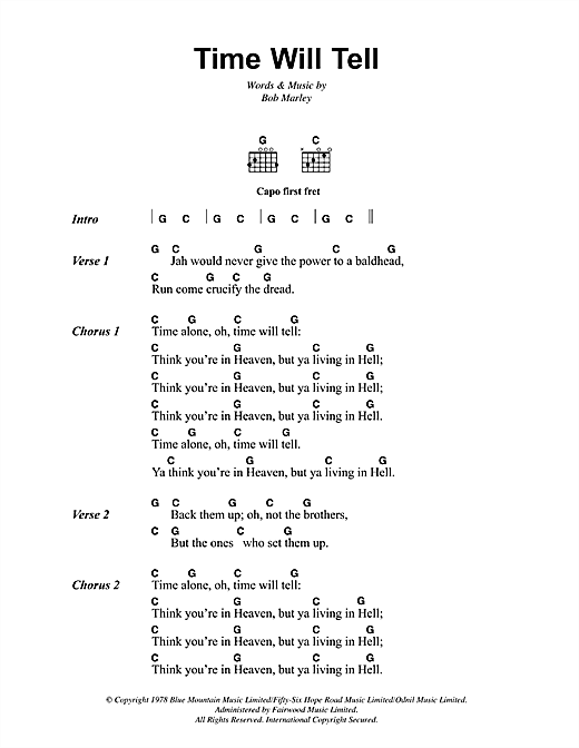 Time Will Tell Sheet Music