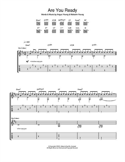 Tablature guitare Are You Ready de AC/DC - Tablature Guitare