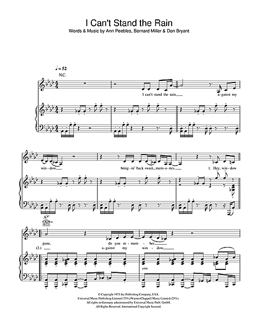 I Can't Stand The Rain Sheet Music