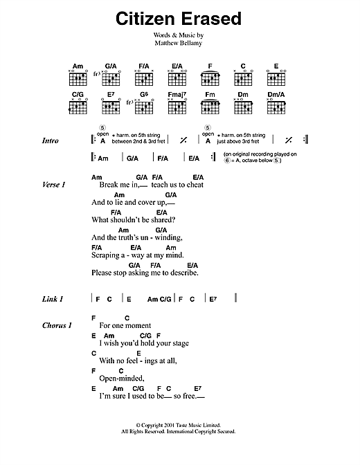 Citizen Erased Sheet Music
