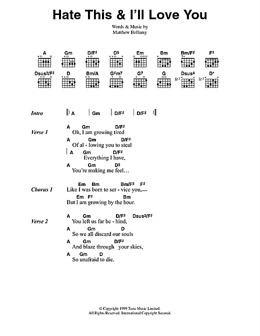 Hate This Ill Love You Sheet Music By Muse Lyrics Chords 42046
