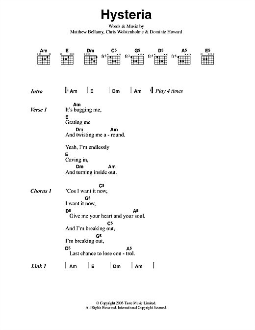 Hysteria sheet music by Muse (Lyrics & Chords – 42088)