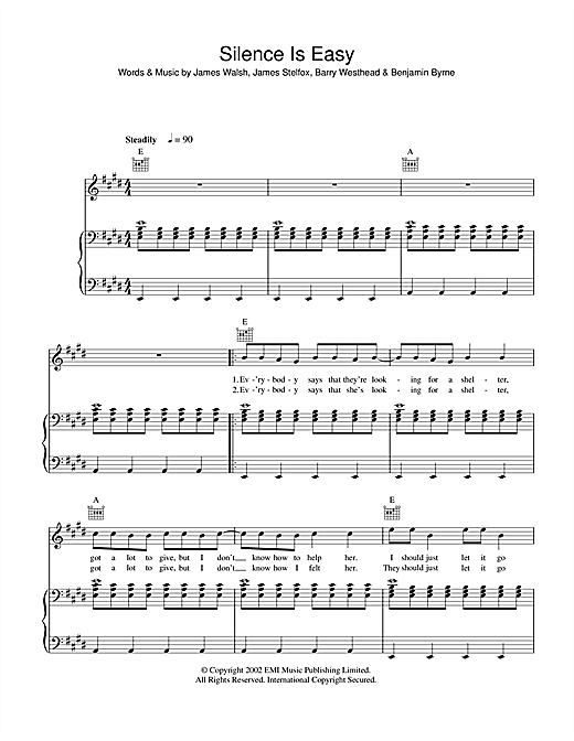 Silence Is Easy Sheet Music