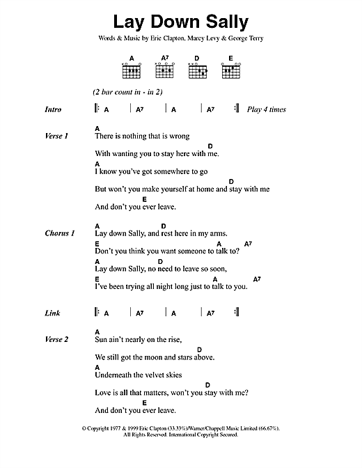 Lay Down Sally (Guitar Chords/Lyrics)