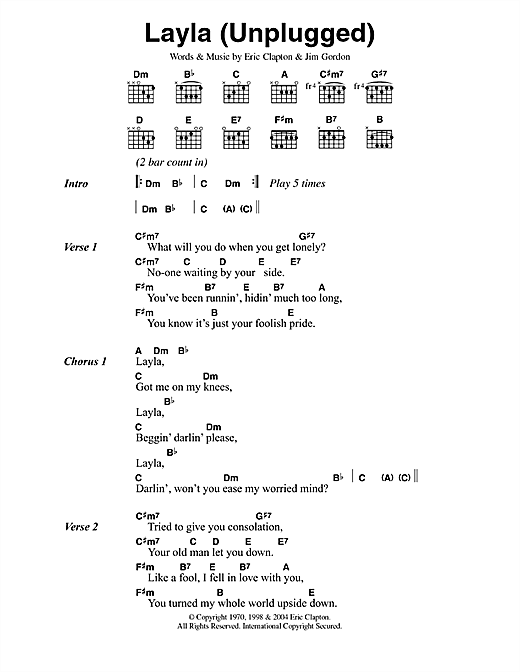 Layla (unplugged) Sheet Music