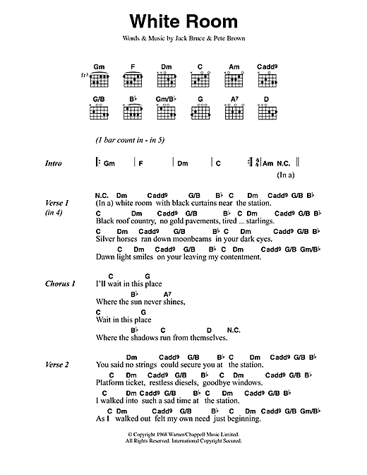 White Room Sheet Music By Cream Lyrics Chords 42145
