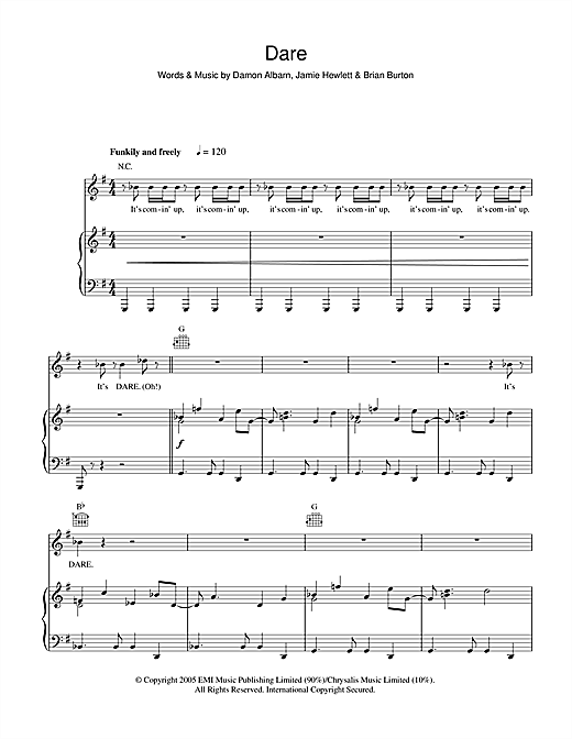 Dare Sheet Music