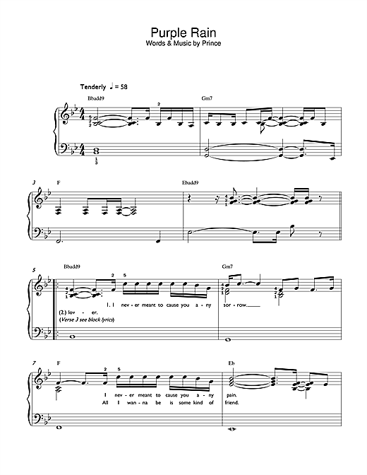 Piano tablature piano facile gratuite : Purple Rain partition par Prince (Piano Facile – 42177)