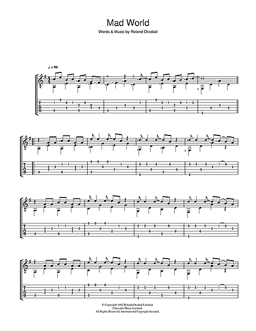 Mad World (from Donnie Darko) Guitar Tab by Gary Jules & Michael ...