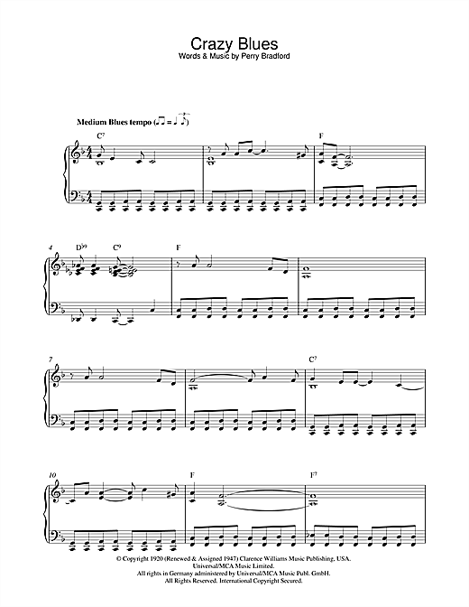 Crazy Blues Sheet Music