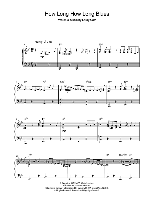 How Long How Long Blues Sheet Music