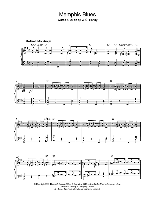 Memphis Blues Sheet Music