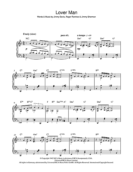 Lover Man (Oh, Where Can You Be) Sheet Music