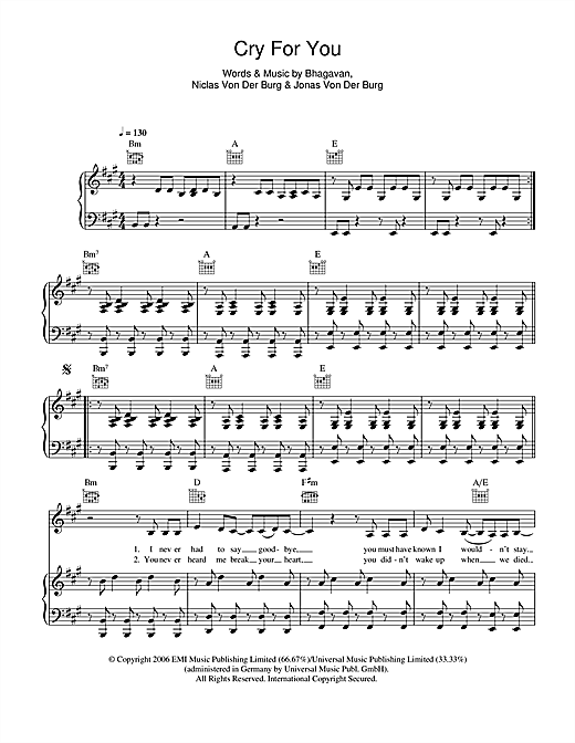 Cry For You Sheet Music