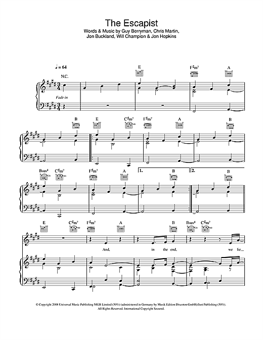 The Escapist Sheet Music