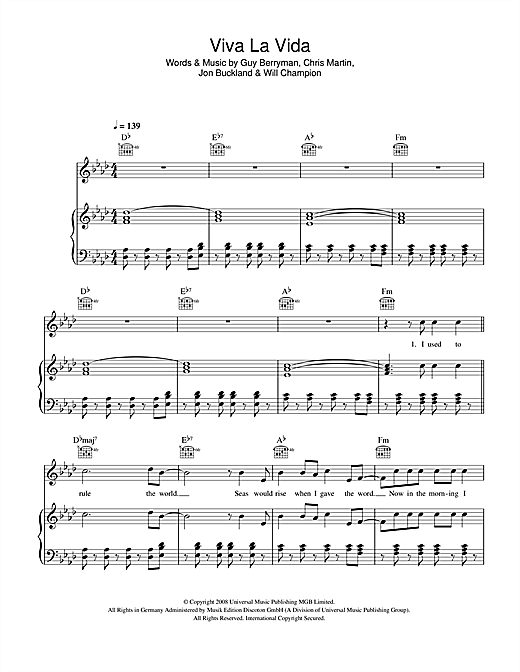 Viva La Vida sheet music by Coldplay (Piano, Vocal u0026 Guitar (Right-Hand Melody) u2013 42266)