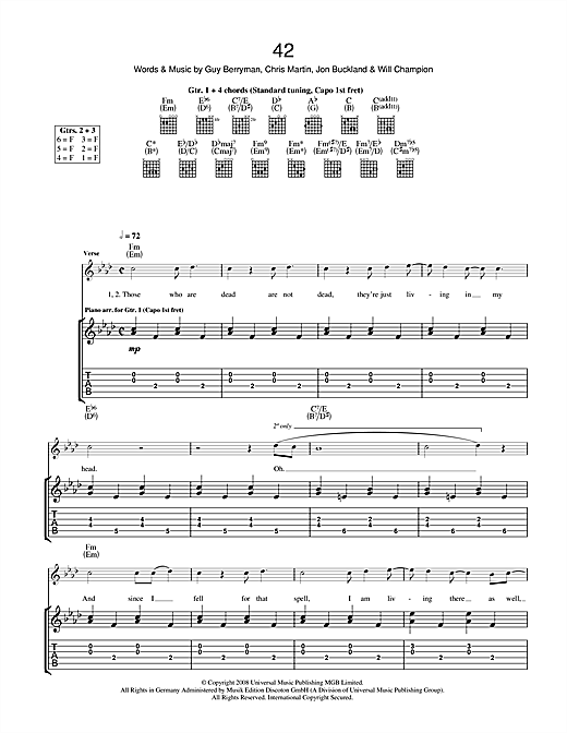 Tablature guitare 42 de Coldplay - Tablature Guitare