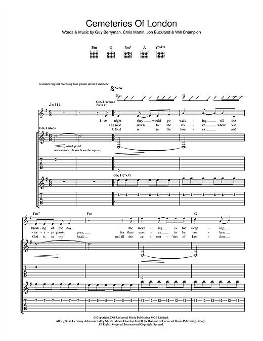 Tablature guitare Cemeteries Of London de Coldplay - Tablature Guitare