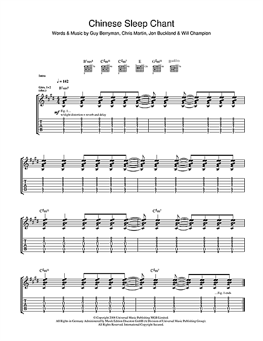 Tablature guitare Chinese Sleep Chant de Coldplay - Tablature Guitare