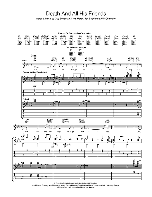 Tablature guitare Death And All His Friends de Coldplay - Tablature Guitare