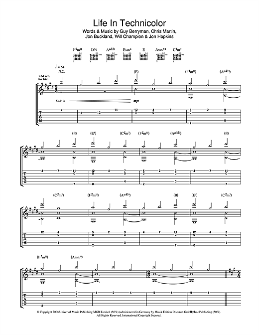 Tablature guitare Life In Technicolor de Coldplay - Tablature Guitare