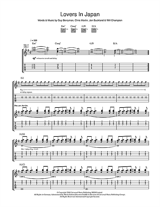 Tablature guitare Lovers In Japan de Coldplay - Tablature Guitare