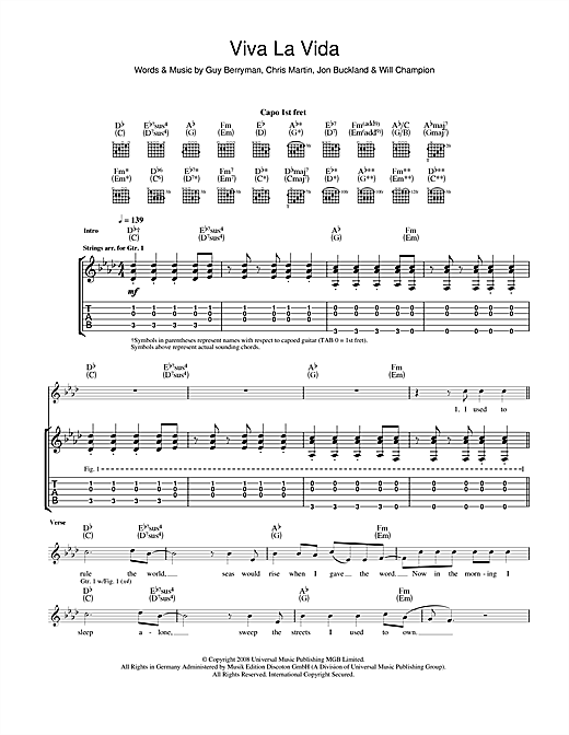 Tablature guitare Viva La Vida de Coldplay - Tablature Guitare
