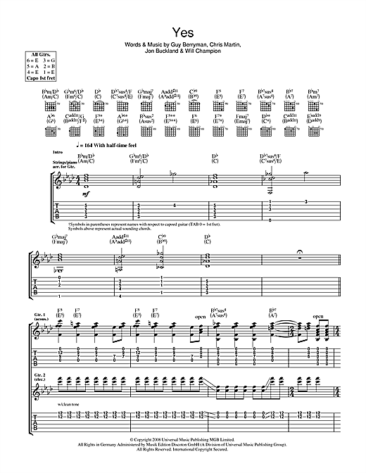Tablature guitare Yes de Coldplay - Tablature Guitare