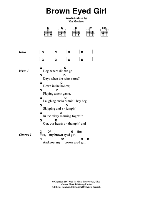 Ukulele ukulele tabs van morrison : Brown Eyed Girl sheet music by Van Morrison (Lyrics & Chords – 42293)