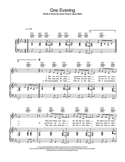 One Evening Sheet Music