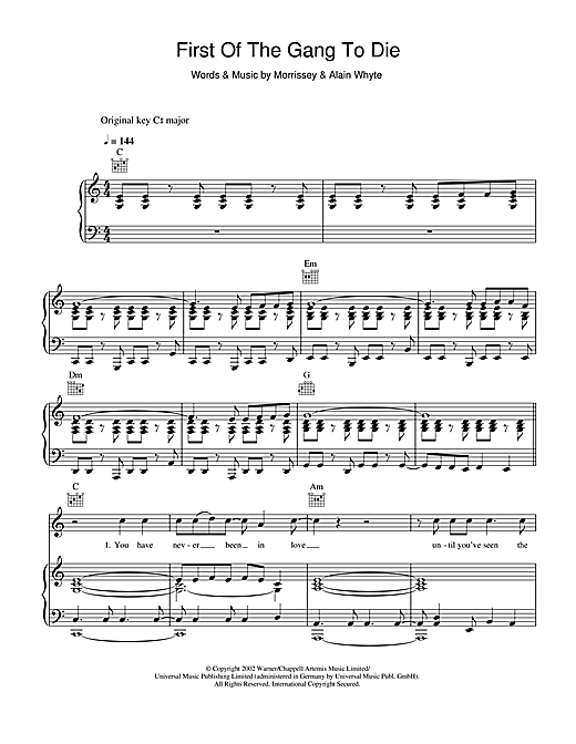 First Of The Gang To Die Sheet Music