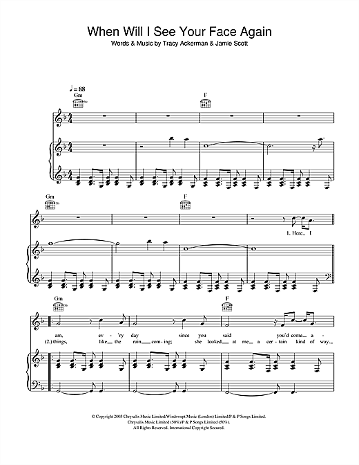 When Will I See Your Face Again Sheet Music