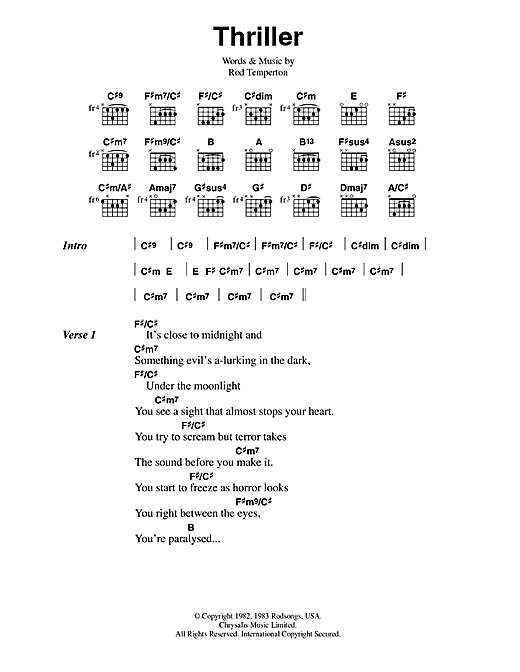 Thriller Sheet Music By Michael Jackson Lyrics Chords 42344
