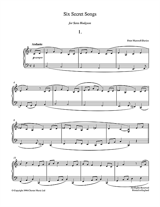 Six Secret Songs, No.1, Andante Sheet Music