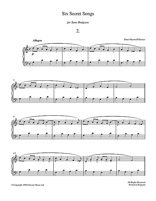 Six Secret Songs, No.2, Allegro Sheet Music