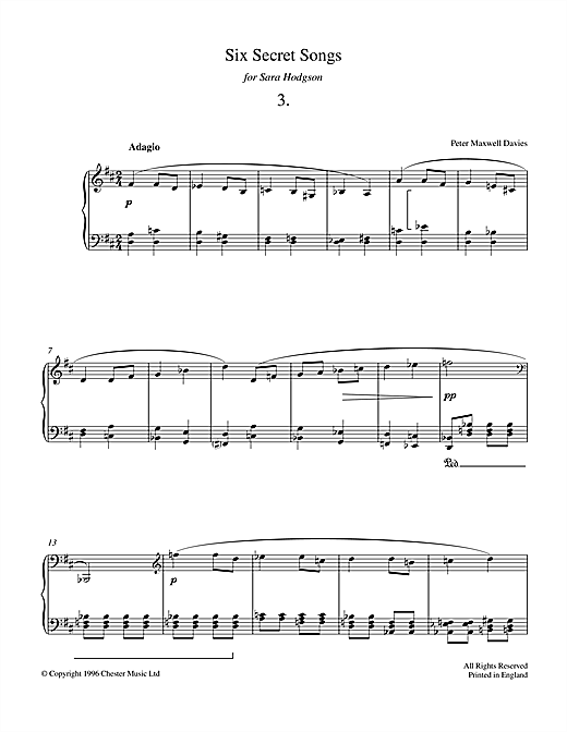 Six Secret Songs, No.3, Adagio Sheet Music