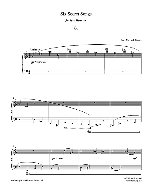 Six Secret Songs, No.6, Andante Sheet Music