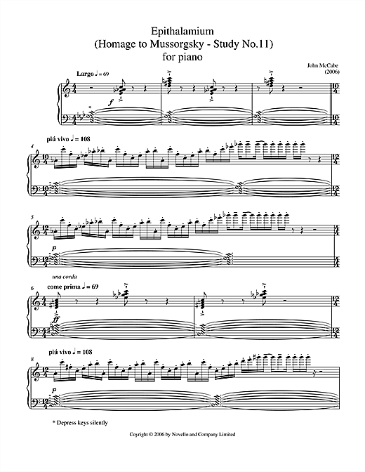 Epithalamium (Homage To Mussorgsky - Study No.11) For Piano Sheet Music