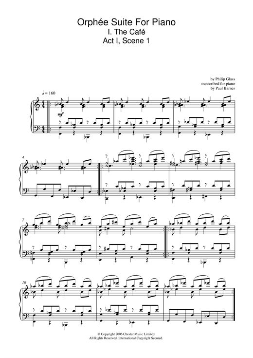 Orphée Suite For Piano, I. The Café, Act I, Scene 1 Sheet Music