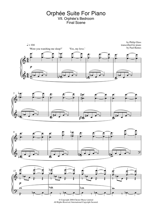 Partition piano Orphée Suite For Piano, VII. Orphée's Bedroom Final Scene de Philip Glass - Piano Solo
