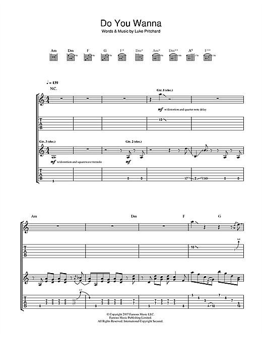 Tablature guitare Do You Wanna de The Kooks - Tablature Guitare