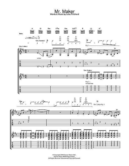 Tablature guitare Mr Maker de The Kooks - Tablature Guitare