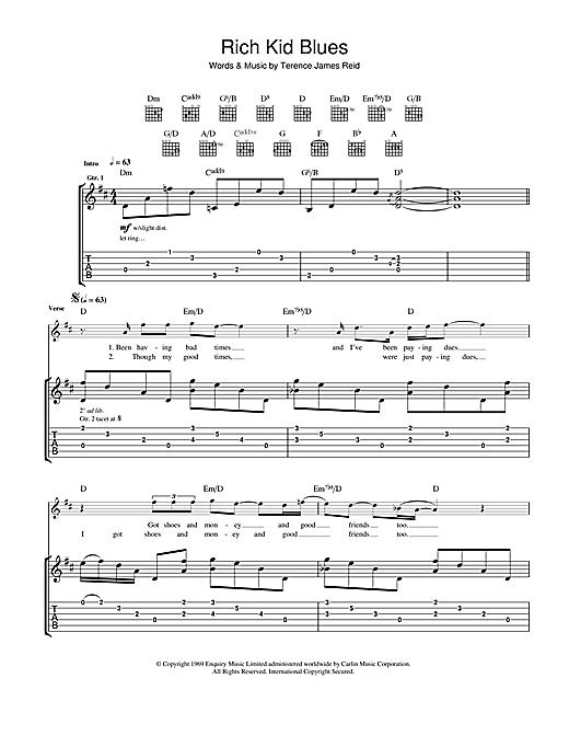 Rich Kid Blues Sheet Music