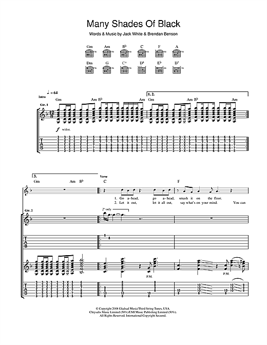 Tablature guitare Many Shades Of Black de The Raconteurs - Tablature Guitare