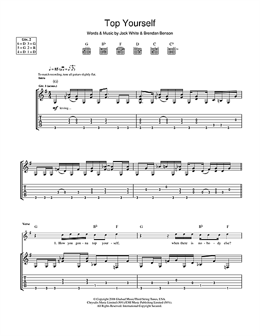 Tablature guitare Top Yourself de The Raconteurs - Tablature Guitare