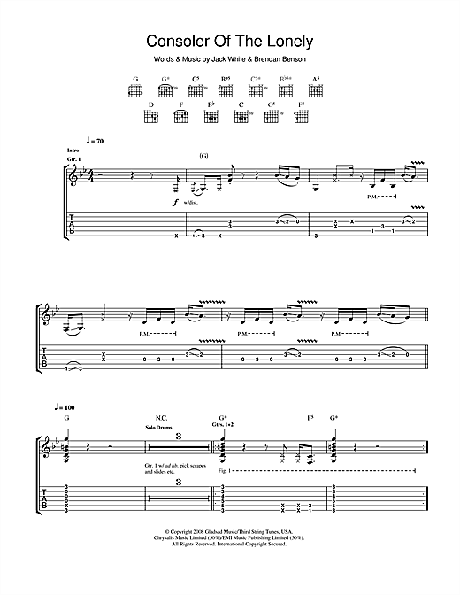 Tablature guitare Consoler Of The Lonely de The Raconteurs - Tablature Guitare