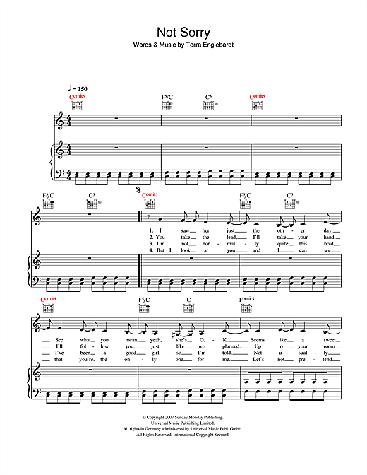 Not Sorry Sheet Music
