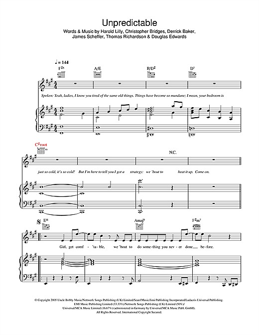 Unpredictable Sheet Music